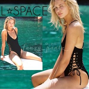 l*space NEW High & Mighty One Piece Lace up Ribbed